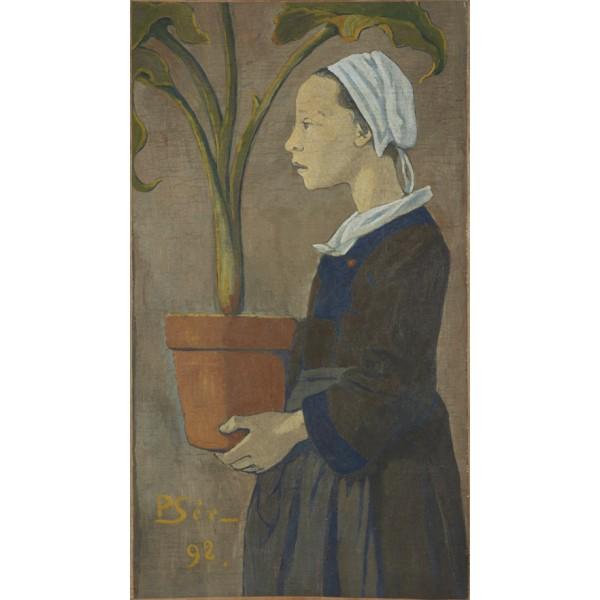 jeune bretonne au pot d'arum